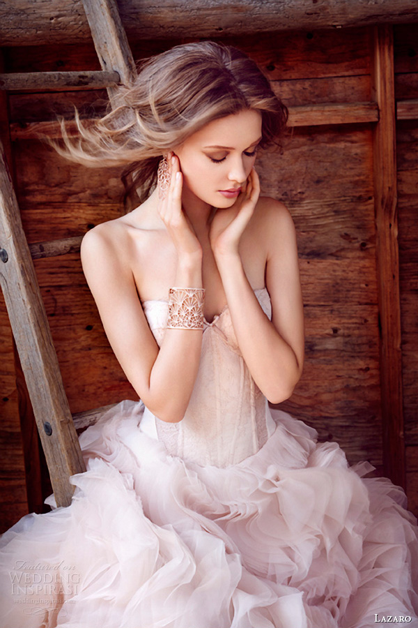 lazaro fall 2015 wedding dresses bridal ball strapless sweetheart silk satin organza corset lace sheer cutouts curved chapel lz3550 close up