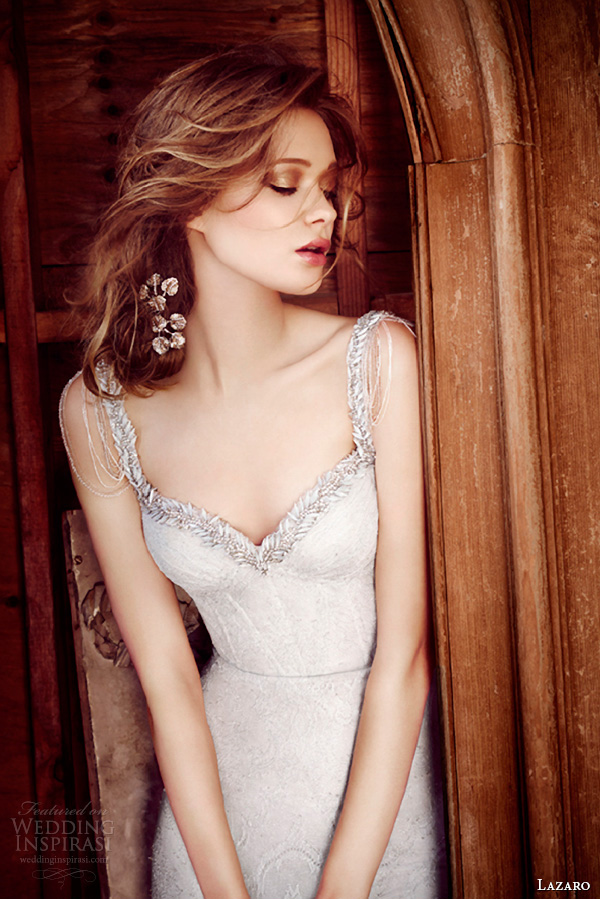 lazaro fall 2015 wedding dresses bridal chantilly lace fit and flare jeweled chandelier sweetheart plunging corset tulle chapel lz3556 close up