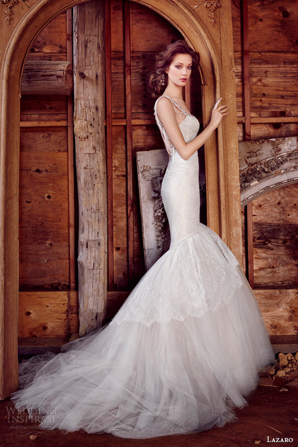 lazaro fall 2015 wedding dresses bridal chantilly lace fit and flare jeweled chandelier sweetheart plunging corset tulle chapel lz3556