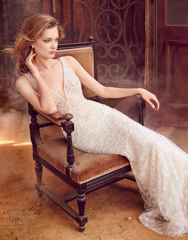 lazaro fall 2015 wedding dresses bridal crystal embroidered slip gown v neckline sheer beaded trim natural waist chapel train lz3558