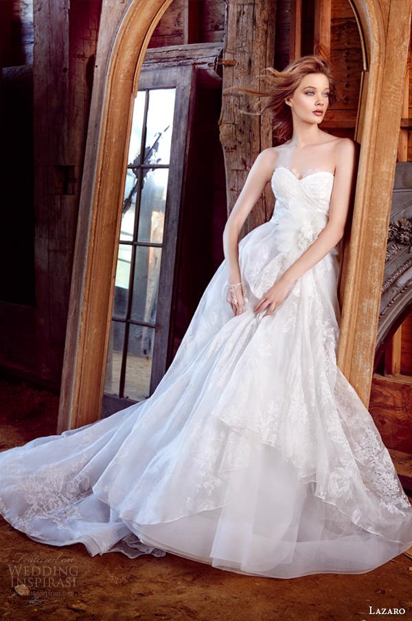 lazaro fall 2015 wedding dresses bridal floral silk organza strapless sweetheart chantilly lace natural asymmetrical horsehair chapel lz3552