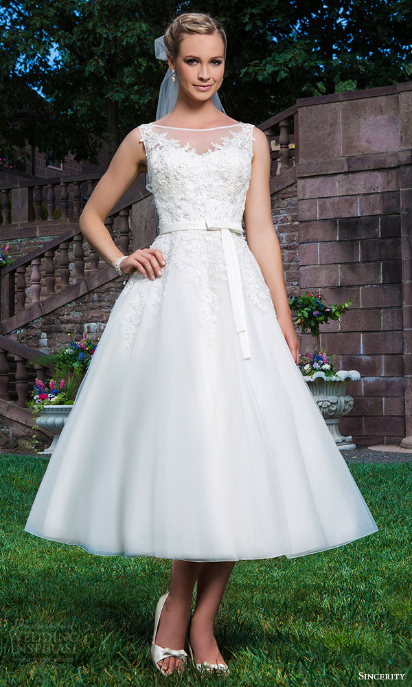 sincerity bridal 2016 style 3855 sleeveless tea length wedding dress embroidered neckline
