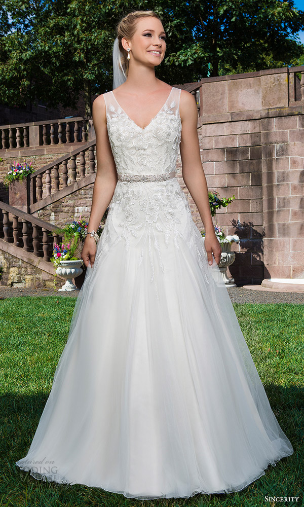 sincerity bridal 2016 style 3858 sleeveless beaded lace tulle wedding dress v neckline