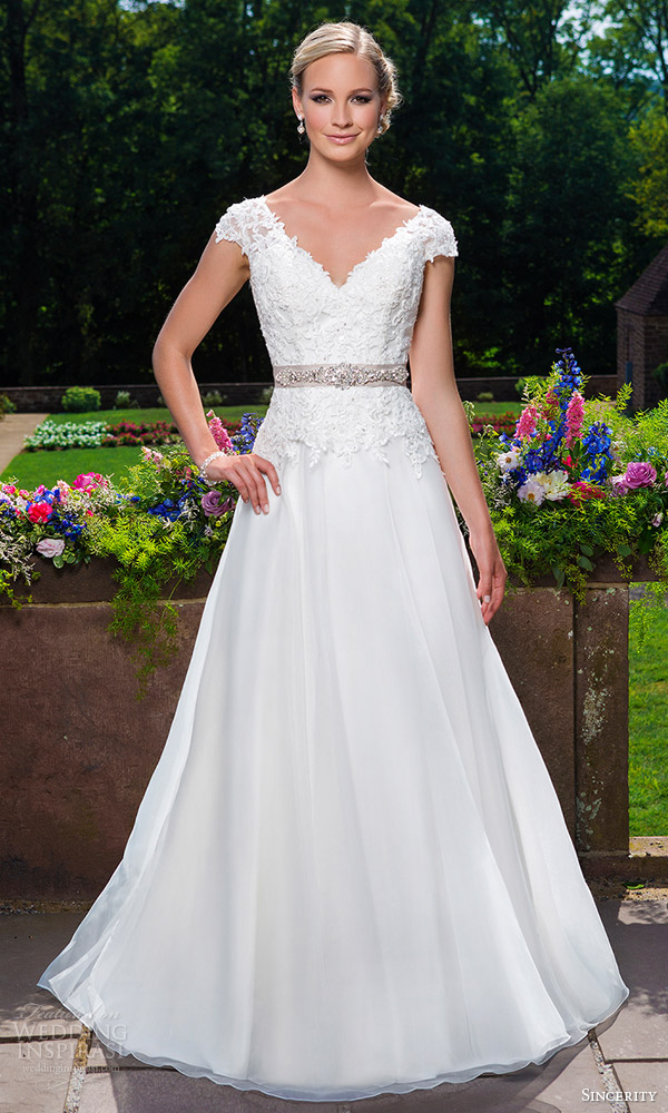 sincerity bridal 2016 style 3860 cap sleeve beaded embroidered lace organza a line wedding dress