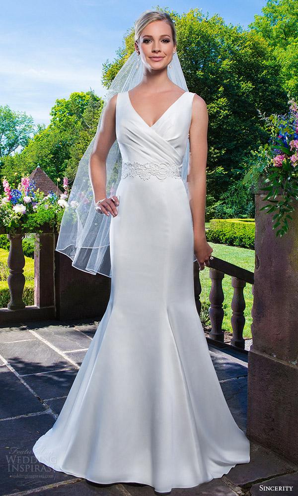 Sincerity bridal 2016 wedding dresses wedding inspirasi for Satin fit and flare wedding dress