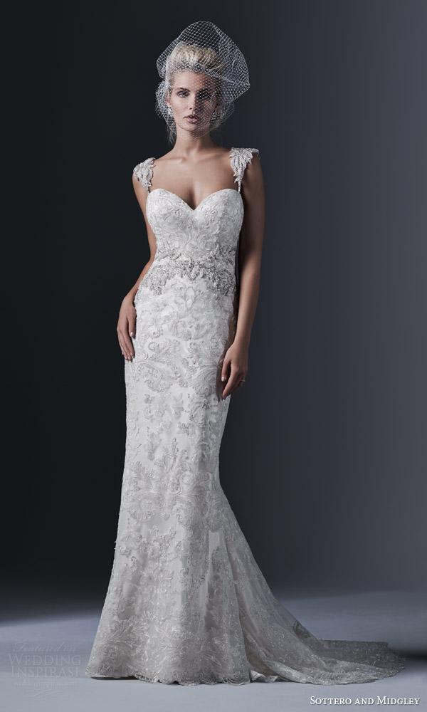Sottero and midgley fall 2015 wedding dresses wedding for Sheath wedding dress with cap sleeves