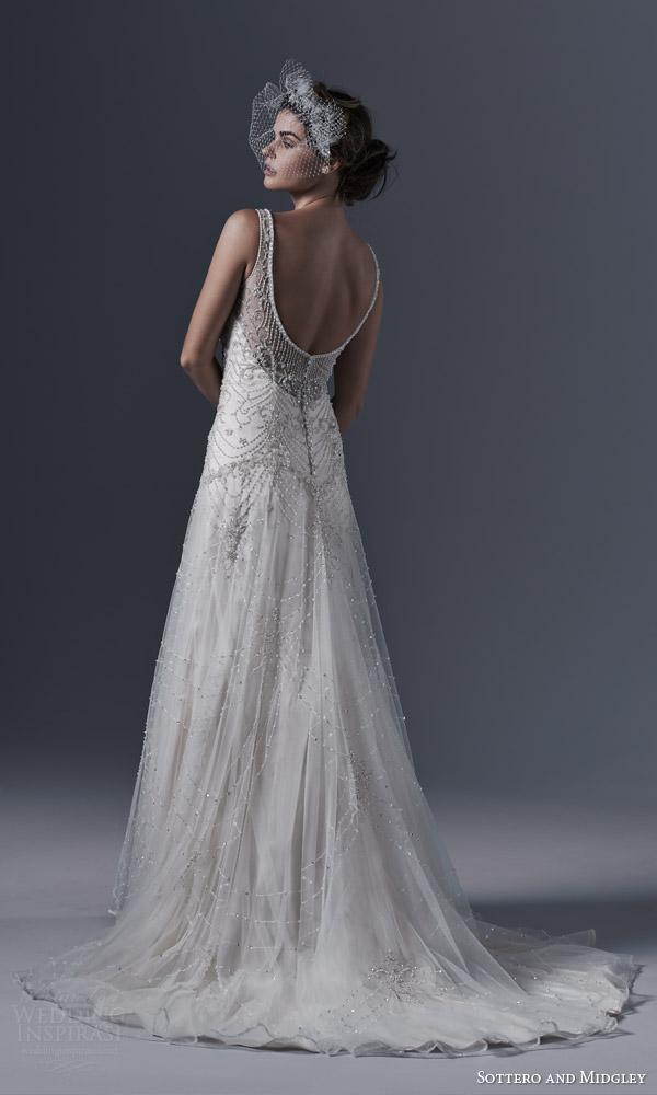 sottero and midgley bridal fall 2015 2016 gwyneth vintage glamour style wedding dress sleeveless pearl swarovski crystal beading back view train