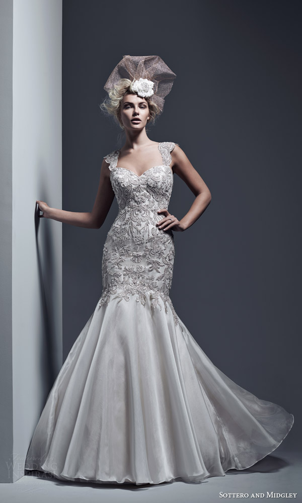 sottero and midgley bridal fall 2015 2016 kaya strapless fit flare wedding dress swarovski crystals bodice vicenza organza skirt cap sleeve option full view