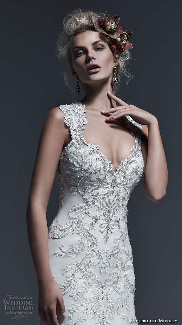 Sottero And Midgley Bridal Fall 2015 2016 Thick Lace Straps V Neckline Embroidery Drop Waist A