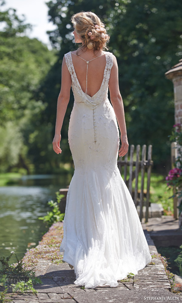 stephanie allin bridal 2016 amy mermaid wedding dress lace straps cowl back view