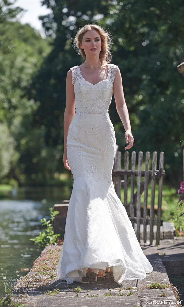 stephanie allin bridal 2016 amy mermaid wedding dress lace straps