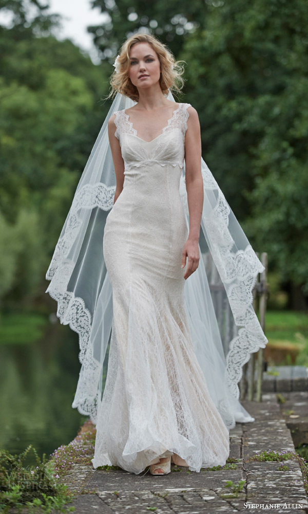 stephanie allin bridal 2016 celine sleeveless lace sheath wedding dress wide lace straps shown with veil
