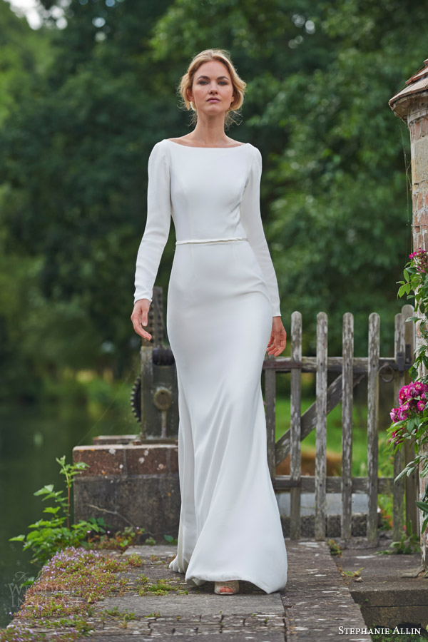 stephanie allin bridal 2016 clementine long sleeve wedding bateau neckline simple minimal embellishment