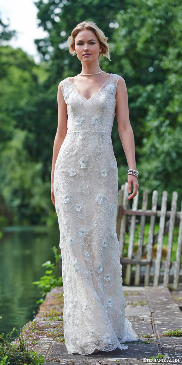 stephanie allin bridal 2016 florence sleeveless sheath lace wedding dress scalloped v neckline