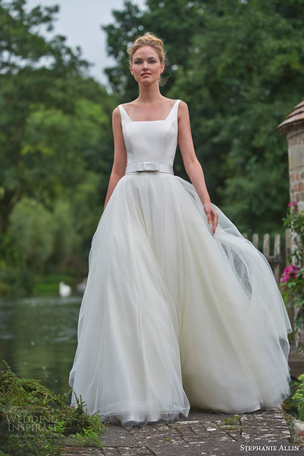 stephanie allin bridal 2016 nicola sleeveless wedding dress angled square necline a line skirt belt