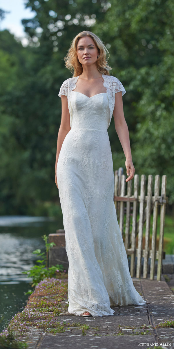 stephanie allin bridal 2016 sorrento lace wedding dress sweetheart neckline sorrento lace shrug cap sleeves