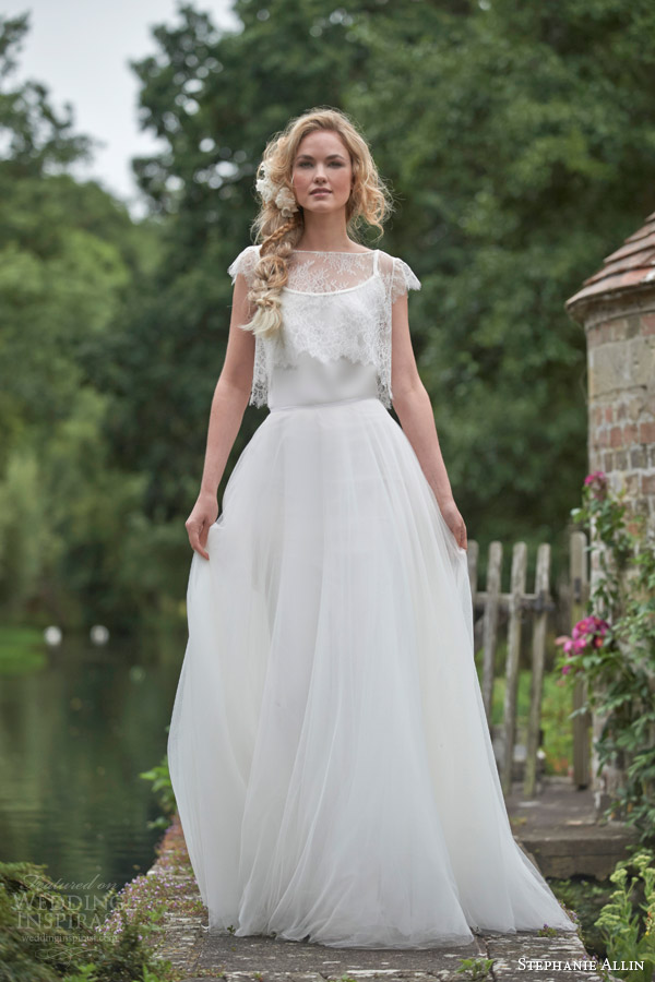 stephanie allin wedding dresses 2016 bridal separates tulle skirt catrin shrug