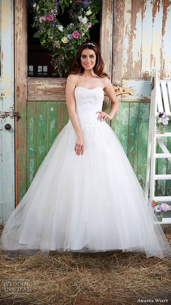 amanda wyatt 2016 bridal dresses beautiful a  line ball gown wedding dress sweetheart neckline tulle skirt style blossom