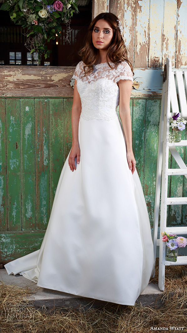amanda wyatt 2016 bridal dresses beautiful a  line wedding dress illusion lace boat neckline lace bodice short sleeves edeline