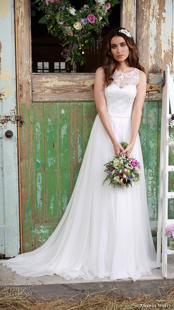 amanda wyatt 2016 bridal dresses beautiful flowy ivory a  line wedding dress jewel neckline lace embroidery tulle skirt promise
