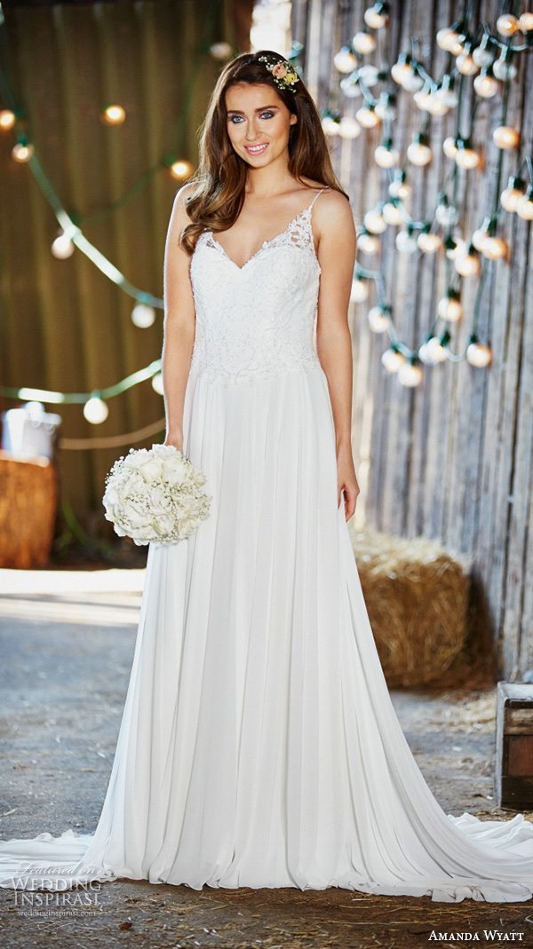 amanda wyatt 2016 bridal dresses beautiful modified a line wedding dress spagetti strap v neckline lace embroidery bodice amelie