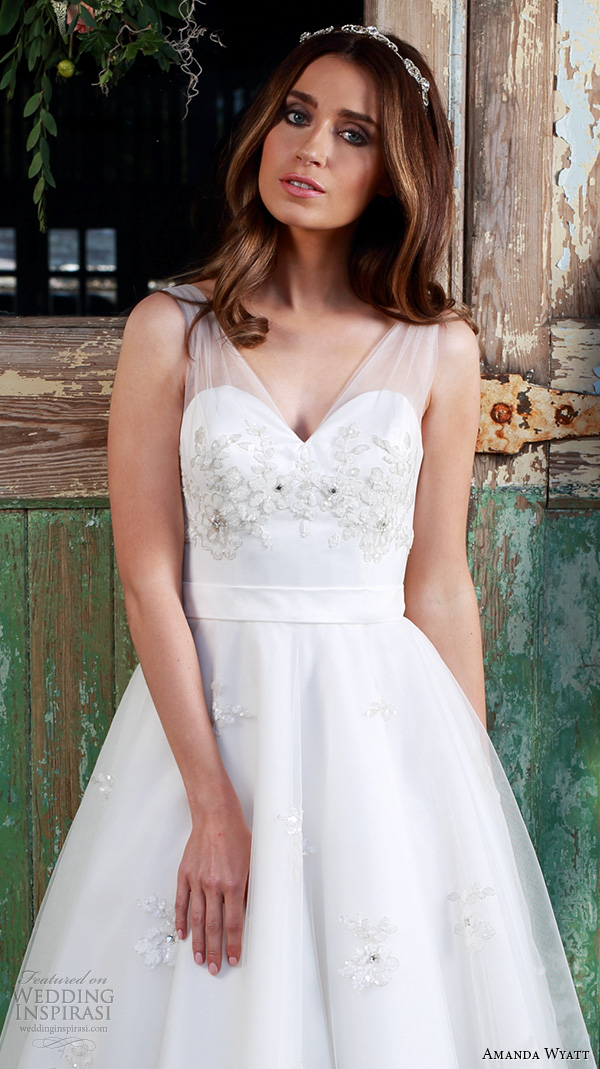 amanda wyatt 2016 bridal dresses beautiful tea length short wedding dress sheer strap floral applique bodice style cherub closeup