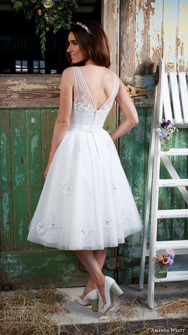 amanda wyatt 2016 bridal dresses beautiful tea length short wedding dress sheer strap floral applique bodice v back style cherub