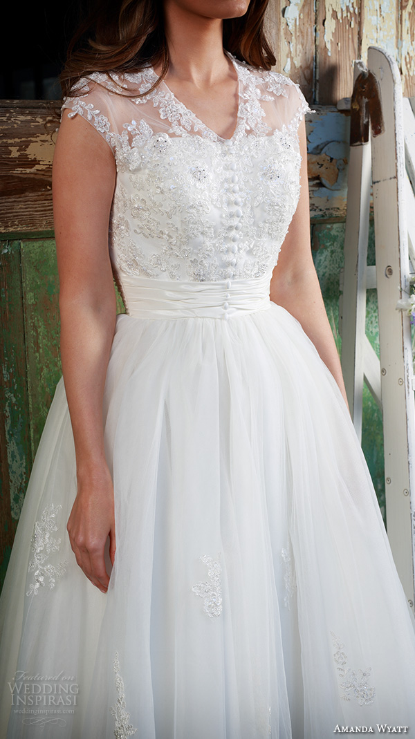 amanda wyatt 2016 bridal dresses beautiful tea length short wedding dress v neckline button lace bodice tulle skirt geena closeup