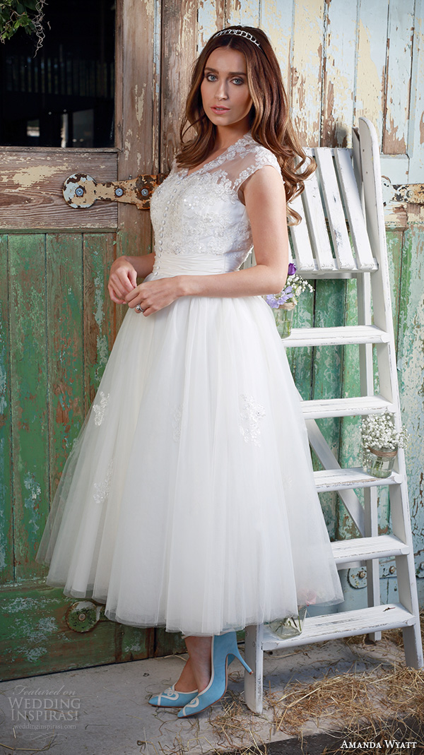 amanda wyatt 2016 bridal dresses beautiful tea length short wedding dress v neckline button lace bodice tulle skirt geena