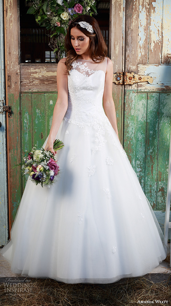 amanda wyatt 2016 bridal dresses pretty  a  line wedding dress illusion sweetheart neckline floral embroidery style ailsa