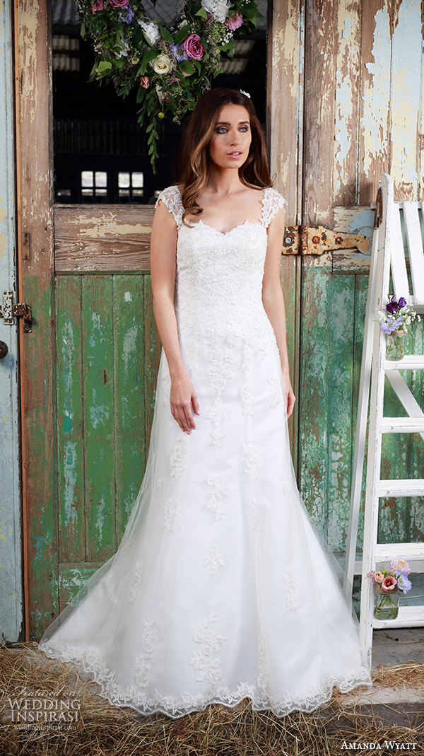 amanda wyatt 2016 bridal dresses pretty a  line wedding dress thick lace strap sweetheart neckline style adore