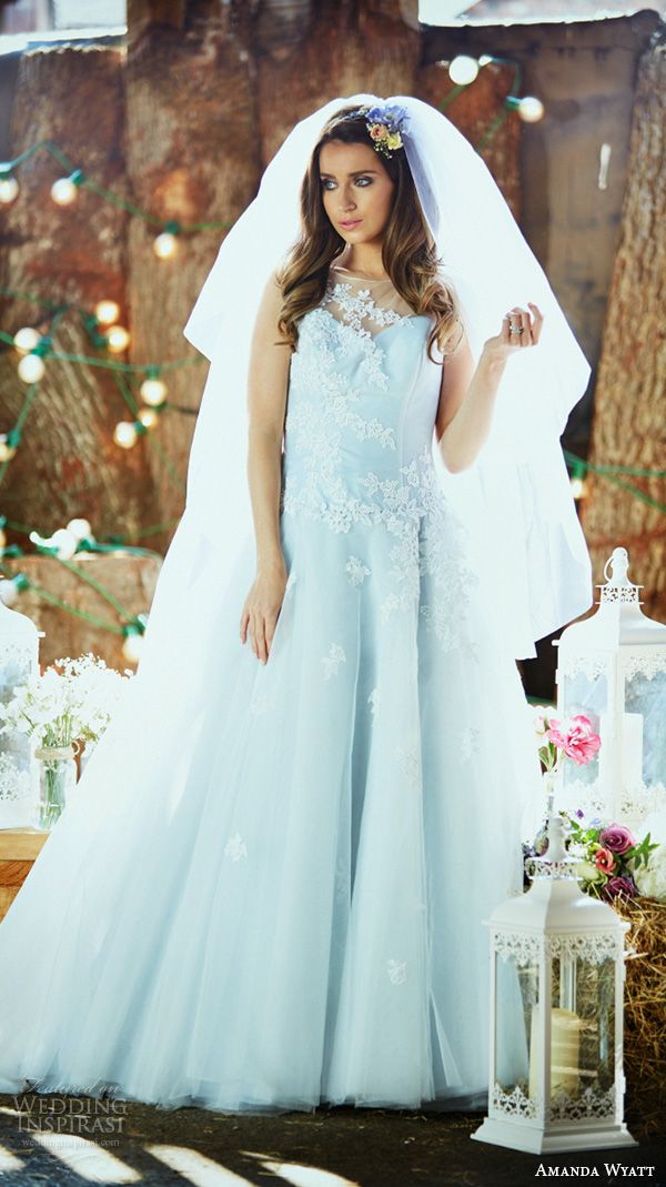 amanda wyatt 2016 bridal dresses pretty pastel blue a  line wedding dress illusion sweetheart neckline floral embroidery style ailsa blue