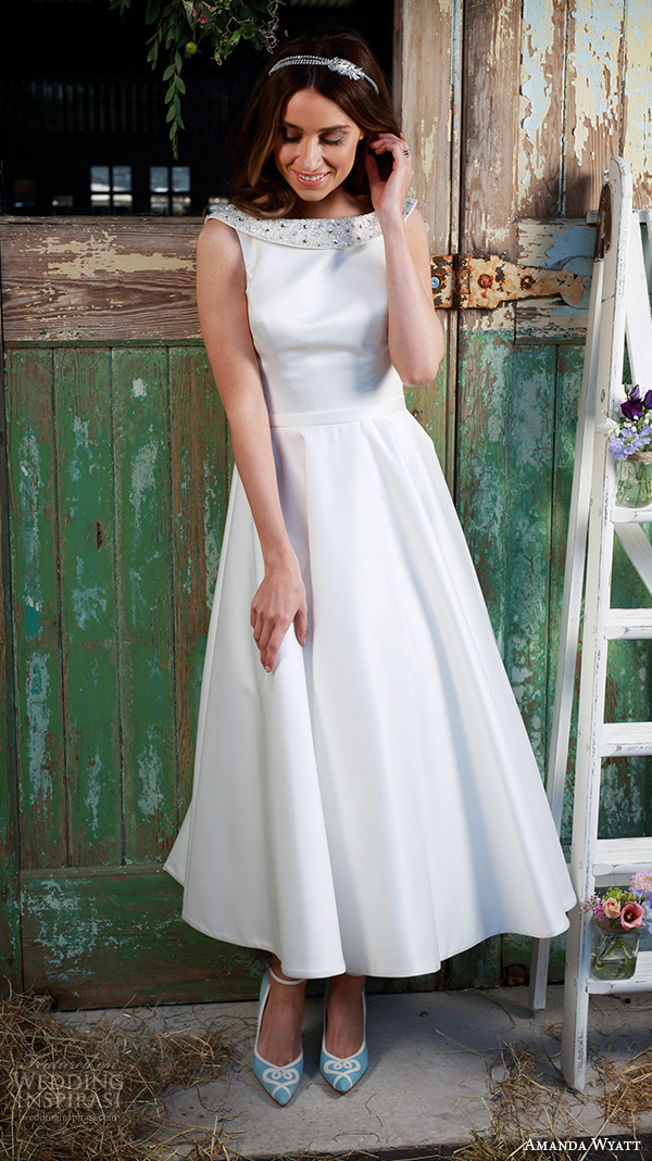 amanda wyatt 2016 bridal dresses pretty tea length short wedding dress boat neckline satin simple style aria