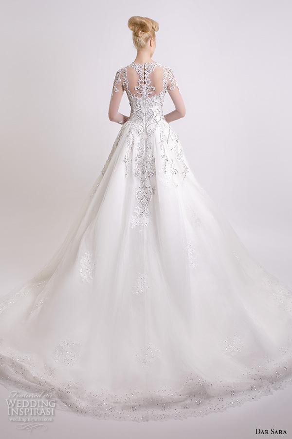 7d210ee73cec7a dar sara bridal 2016 wedding dresses beautiful a line ball gown scoop  neckline sheer long sleeves