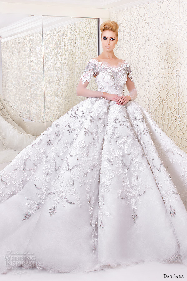 Ball Gown Wedding Dresses With Short Sleeves : Dar sara wedding dresses inspirasi