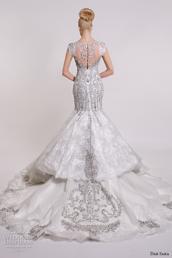 ce64b40ba5710e dar sara bridal 2016 wedding dresses gorgeous mermaid gown fit flare  trumpet cap sleeves v neckline