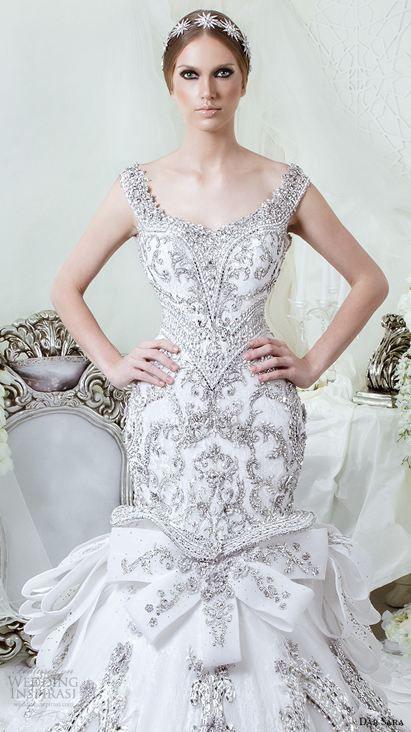 7bc26a7c48693 dar sara bridal 2016 wedding dresses stunning mermaid gown scoop neckline  with beaded strap embellished embroidery