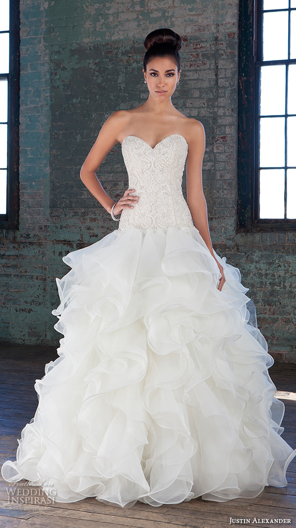 Justin alexander signature spring 2016 wedding dresses for Wedding dresses with ruffles