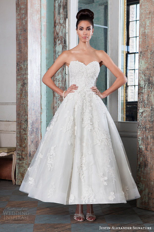Justin alexander signature spring 2016 wedding dresses for 1950 wedding dresses tea length