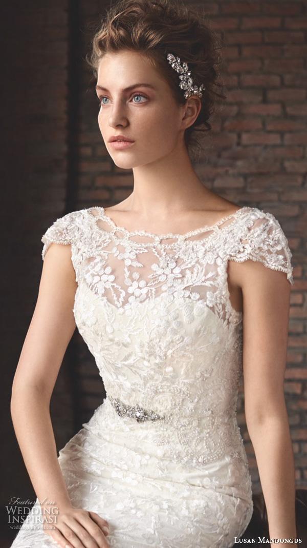 lusan mandongus 2016 wedding dresses bateau neckline cap sleeves lace beaded embroidered elegant beautiful trumpet mermaid gown train ankaa closeup