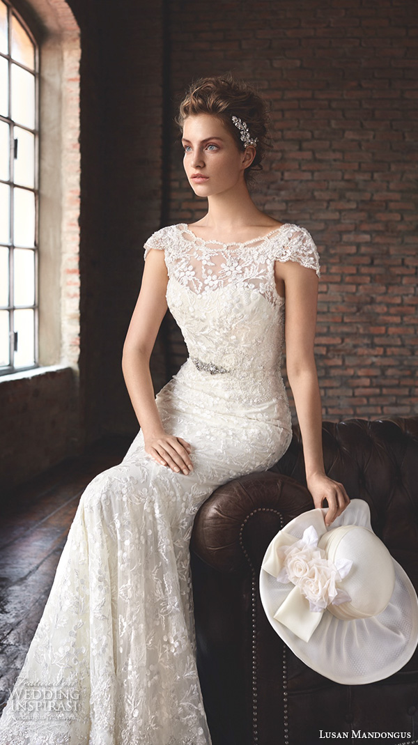 lusan mandongus 2016 wedding dresses bateau neckline cap sleeves lace beaded embroidered elegant beautiful trumpet mermaid gown train ankaa