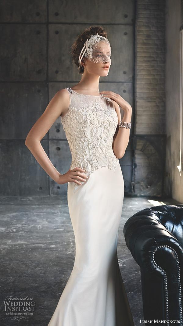 lusan mandongus 2016 wedding dresses boat bateau neckline sleeveless embroidered bodice elegant sheath gown enif