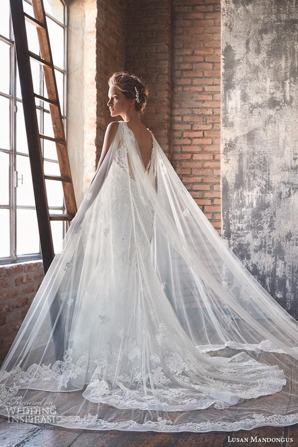 lusan mandongus 2016 wedding dresses lace strap low open back slim cut sheath mermaid gown musca