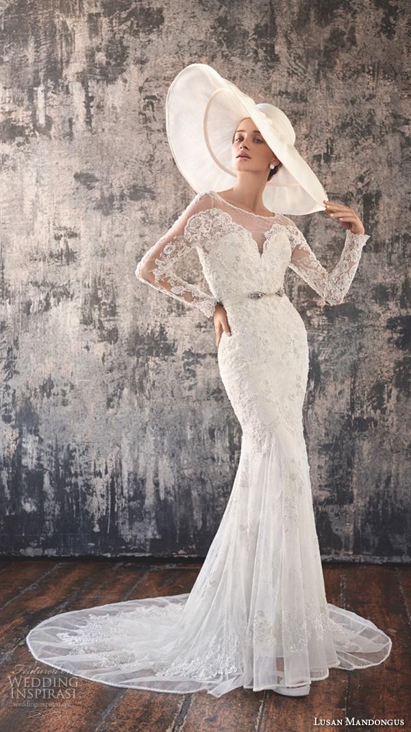 lusan mandongus 2016 wedding dresses long lace sleeves sheer bateau neckline deep v neck embroidered bodice beautiful sheath mermaid gown murzim