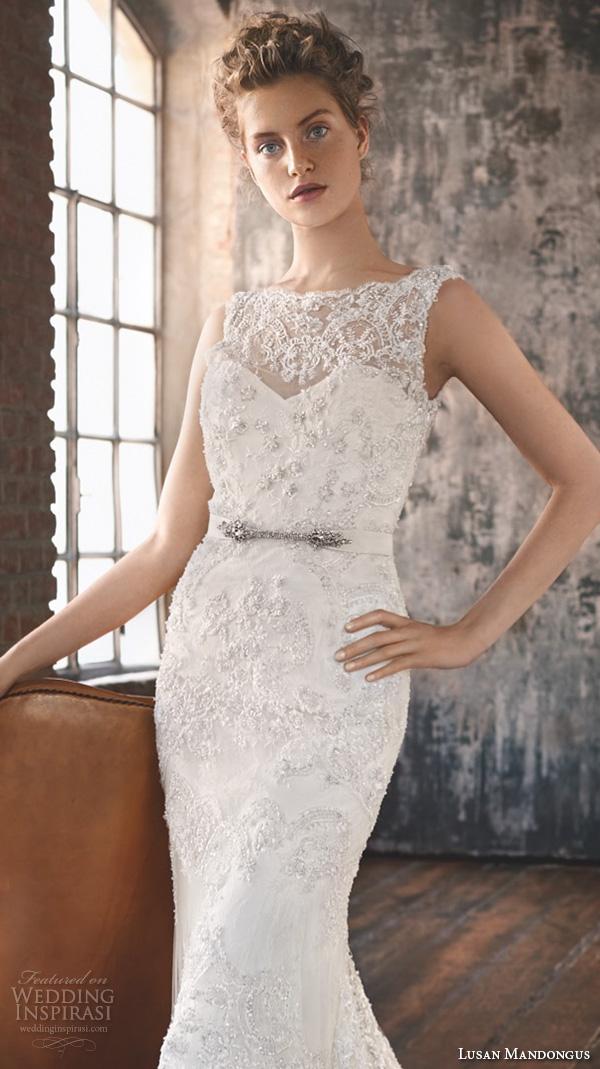 lusan mandongus 2016 wedding dresses scallop bateau illusion lace neckline embroidered slim cut fit flare trumpet beautiful mermaid gown merak closeup