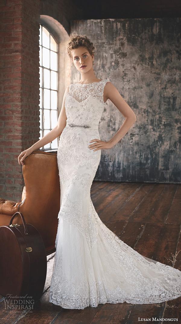 lusan mandongus 2016 wedding dresses scallop bateau illusion lace neckline embroidered slim cut fit flare trumpet beautiful mermaid gown merak