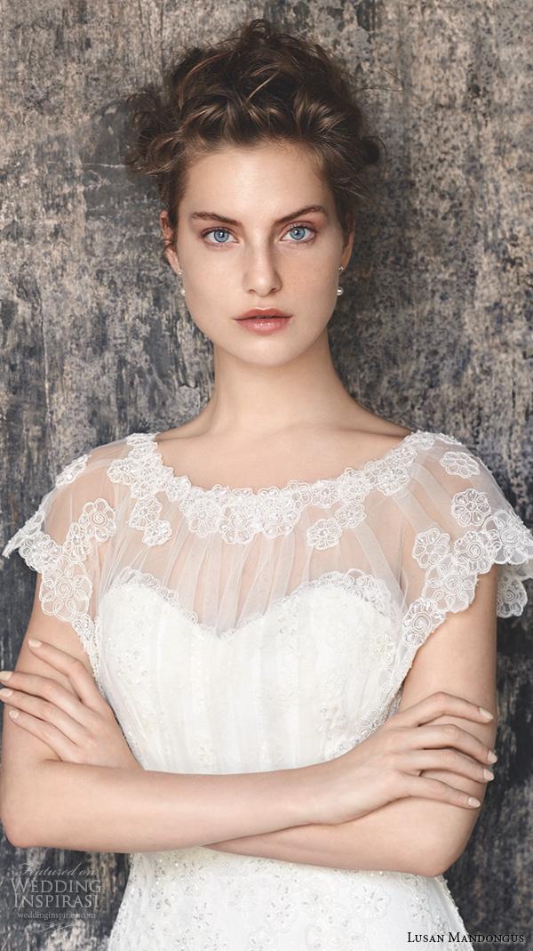 lusan mandongus 2016 wedding dresses sheer lace jewel neckline cap sleeves wedding gown vela