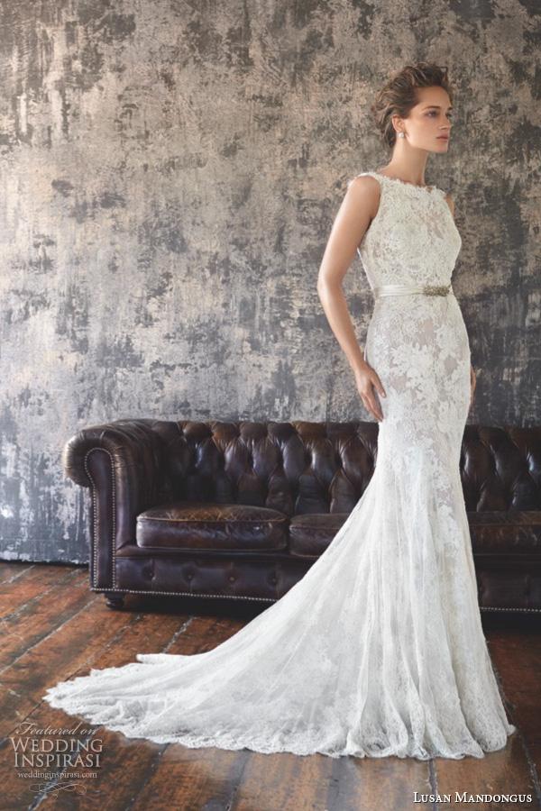 lusan mandongus 2016 wedding dresses sleeveless bateau neckline gorgeous slim cut mermaid sheath gown nunki