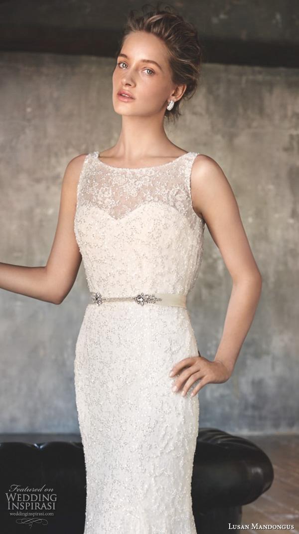 lusan mandongus 2016 wedding dresses sleeveless bateau neckline lace bodice beautiful elegant trumpet mermaid gown castor closeup