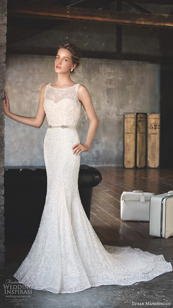 lusan mandongus 2016 wedding dresses sleeveless bateau neckline lace bodice beautiful elegant trumpet mermaid gown castor